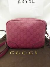 NWT Gucci Bree Guccissima Leather Crossbody Shoulder Bag, Rose Peonia