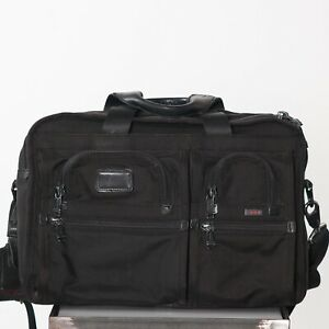 Tumi Alpha Black Expandable Laptop Document Shoulder Bag