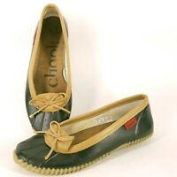 Chooka Black Tan Duck Skimmer Rain Waterproof Rubber Slip On Shoes Women's Sz 9