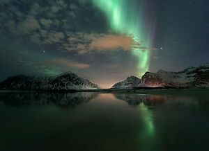 Northern Lights - Calm Lake Teal Sky Landscape Large Canvas Picture 20x30inch