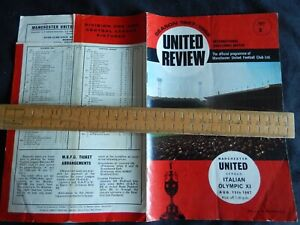 Manchester Utd v Italian Olympic XI Vintage Match Programme 15th Aug 1967