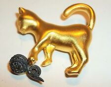 JUDITH JACK Signed CAT & BALL Brooch Matte Gold on Sterling Marcasite circa 1960
