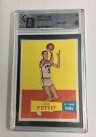 1957 TOPPS BASKETBALL BOB PETTIT ROOKIE CARD #24 GRADED GAI NM-MT 8 NICE CARD