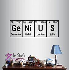 Vinyl Decal Genius Periodic Table Element Chemistry Class Wall Sticker Art 2131