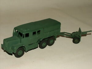 FLAT ARMY GREEN MILITARY DINKY DIECAST 1:43 No.689 & 686 ARTILLERY TRACTOR & GUN