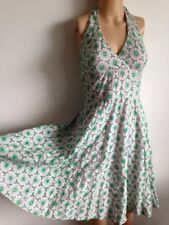Lilly Pulitzer Green Pink Floral Cotton Halter Embroidery A-Line Dress SZ 0 XS