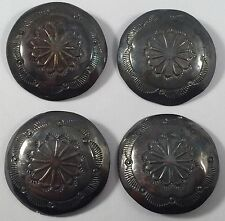 Vintage Yellowhorse Navajo Sterling Silver Concho Stampwork Buttons Set of 4