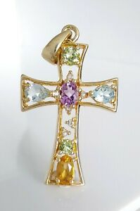 Beautiful Gold On 925 Sterling Silver & Natural Multi Gemstone Cross Pendant