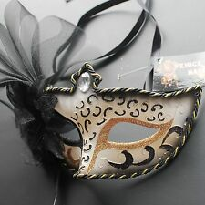 Black Floral Venetian Masquerade Mask Party Prom Mardi Gras Halloween Costume