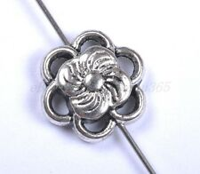 20pcs Tibetan Silver Cute Flower Charms Spacer Beads 12X4MM BE798