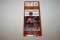 1991 NHL hockey playoff ticket BLACKHAWKS game A - 2ndB
