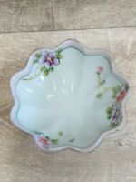 Vintage Nipon Japan HandPainted Floral Ruffled Edge Footed Nut Dish Finger Bowl