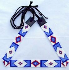 BLUE WHITE  BEADED BILLY JACK STYLE INSPIRED HATBAND BELT H44/1