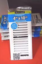 "Lot of 4 - Decor Grates Floor Register Metal White Louvered 4"" x 10"""