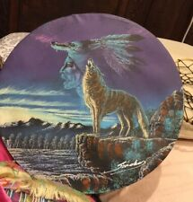 American Indian 11.5� Hand Painted Drum Wolf Signed W Dreamcatcher Attached Preo