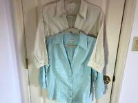 Woman's Talbots size medium petite (lot of 2) 100% linen 3/4 sleeve blouses