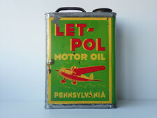 A3165 @ RARE BIDON D'HUILE OIL CAN LET POL AVION MOTOR OIL PENNSYLVANIA