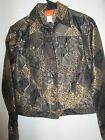 NWOT Hearts of Palm Black/Beige/Gold Metallic Jean Jacket Size 8
