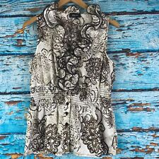 Iz Byer Womens Large Ruffle Blouse White Brown Floral Sleeveless