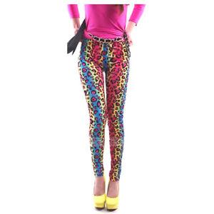 Ladies 80's Bright Neon Metallic Fluro Leopard Print Leggings Punk RRP $30 AUS
