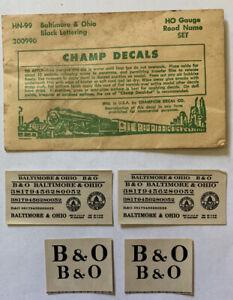 CHAMP HO DECAL - BALTIMORE & OHIO / B&O ROAD NAME SET - BLACK - HN-99