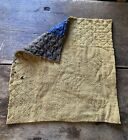 Antique 19thC Double Sided Linsey Woolsey Textile Fragment Blue Mustard AAFA #2