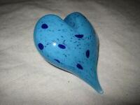 """Hand Blown Art Glass Blue Heart Paperweight 2-1/2"""" x 3"""" Signed"""