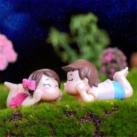 1 pair Mini lying Couples Dolls Garden Miniatures Figurine DIY Micro Landscap uW