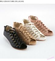 Casual Womens Hollow Out Sandals Shoes Open Toe Back Zip Low Heel Strap Shoes