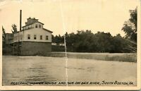 Vtg Postcard 1911 Electric Power House and Dam on Dan River South Boston VA