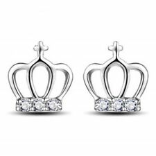 UK CRYSTAL BLING CROWN STUD EARRINGS Diamante Silver Queen Fashion Jewellery