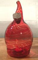 Red Swirl Hand Blown Art Glass Salt/Pepper Shaker, One-of-a-Kind