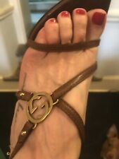 Iconic GUCCI Brown leather strappy 'GG' monogram Sandals SZ 7B High Heels.