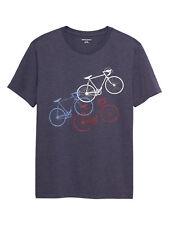New Banana Republic Mens Diagonal Bikes Navy Blue Large Graphic T Shirt 3852-3