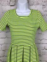 Lularoe Women's Neon Yellow Black Fit & Flare Amelia Dress Pockets XS