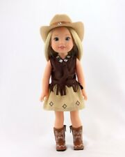 """4 Piece Western Cowgirl Outfit With Boots Fits AG Wellie Wisher Dolls 14.5"""" Doll"""