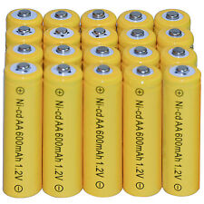 20 AA Rechargeable Batteries NiCd 600mAh 1.2v Garden Solar Ni-Cd Light Nicd Lamp