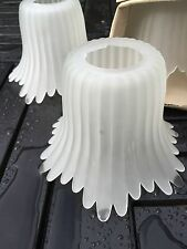 VINTAGE MODERN WHITE POINTED / TULIP EDGE GLASS SHADE