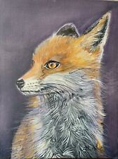 More details for fox ,hare, hunting easter bunny  wildlife oil  painting on board