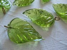 12 Olive Green Glass Leaf Charms Beads Leaves with Brass Loops 24mm X 14mm