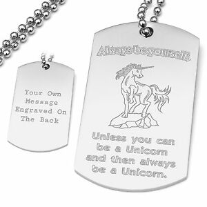 Always be yourself unless you can be a Unicorn Quote Pendant Dog Tag Hipster Fun
