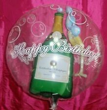 "GIANT 22"" CLEAR INSIDER BALLOON CHAMPAGNE HAPPY BIRTHDAY - NEW IN CELO BAG"
