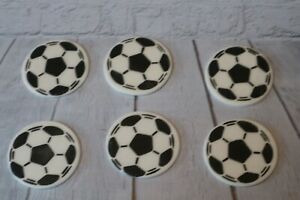 Football Cupcake Toppers Set of 6 Fondant Sugarpaste Handmade toppers