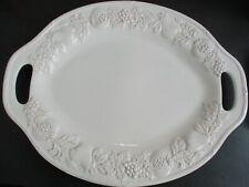 "Gibson Elite 21"" White Oval Fruit Pattern Turkey Serving Platter With Handles"
