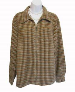 WOOLRICH Plaid Jacket Size L 12 14 Zip Front Brown Teal Clove Shirt Wool Blend