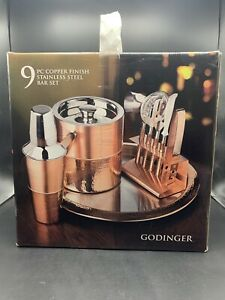 New Godinger 9 Piece Hammered Finish Copper Bar Set With Ice Bucket and Tools