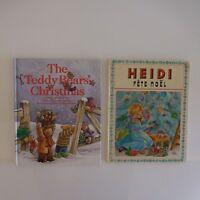 2 Libros Vintage Heidi Fiesta Papá Noel 1974 + The Teddy Bear 'S Christmas 1998