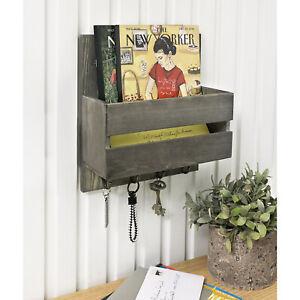 Vintage Gray Solid Wood Entryway Mail Letter Holder, Magazine Rack w/4 Key Hooks