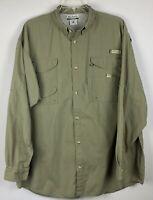 Columbia PFG Long Sleeve fishing shirt; Size 2XT; vented back; military green