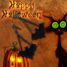 Vintage Retro Halloween Bat Dangle Earrings Black PU Leather Bat Hook EarringsGT